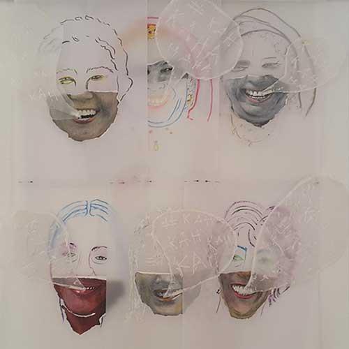 """""""N/S/E/O"""" Espacio BOP. Madrid Infografía y esmalte sobre papeles. 100x120 cm. 2017"""
