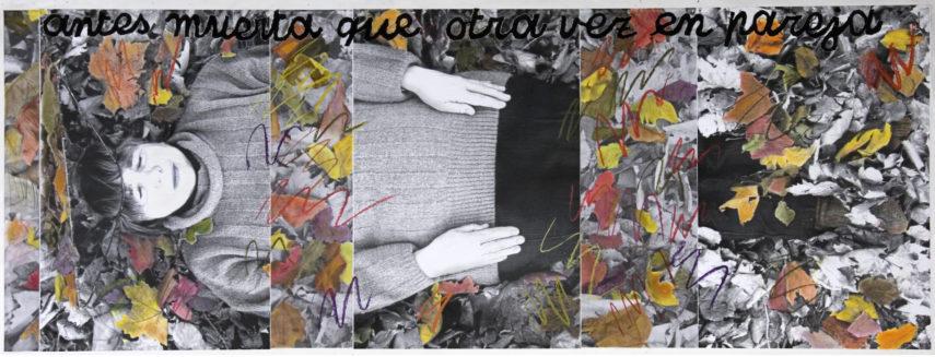 Antes muerta que en pareja. Collage de infografía y pastel sobre papel. 77x203 cm. 2006